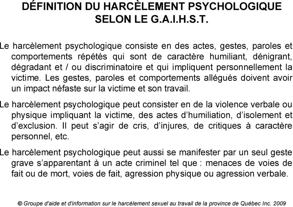 PSYCHOLOGIQUE SELON LE G.A.I.H.S.T.