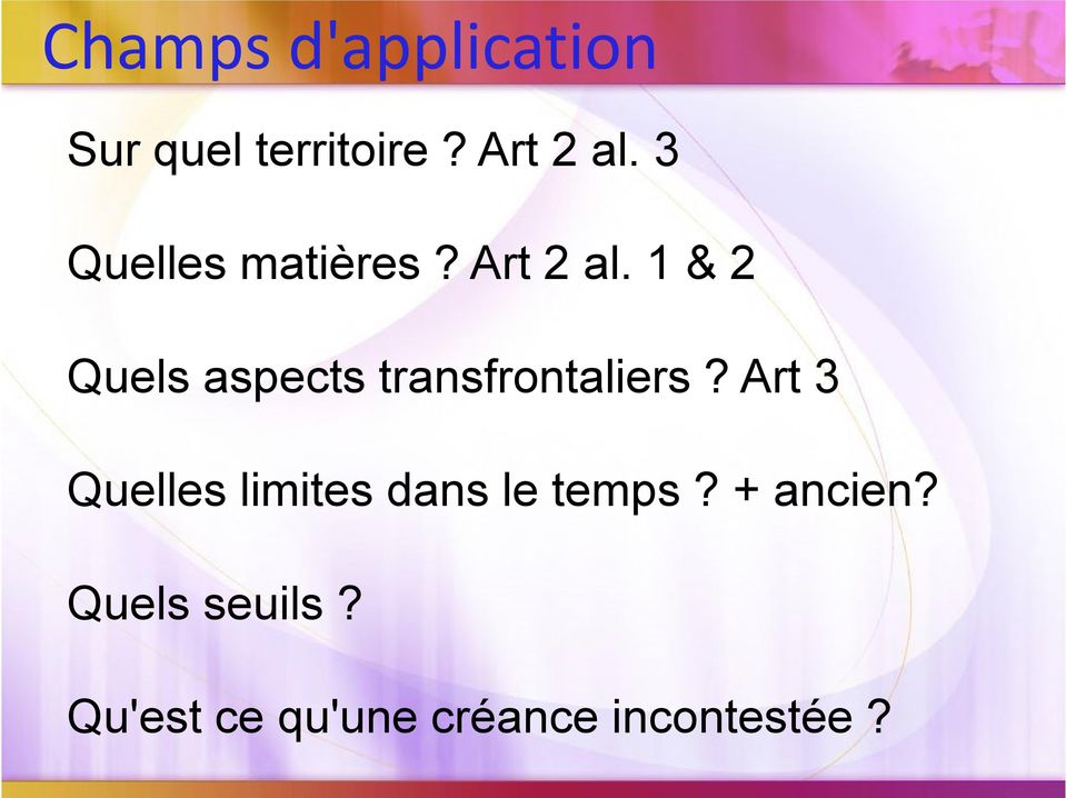 1 & 2 Quels aspects transfrontaliers?