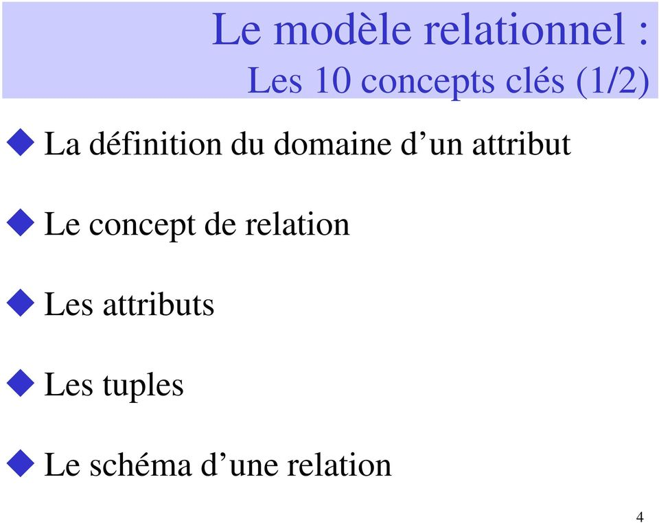 attribut Le concept de relation Les