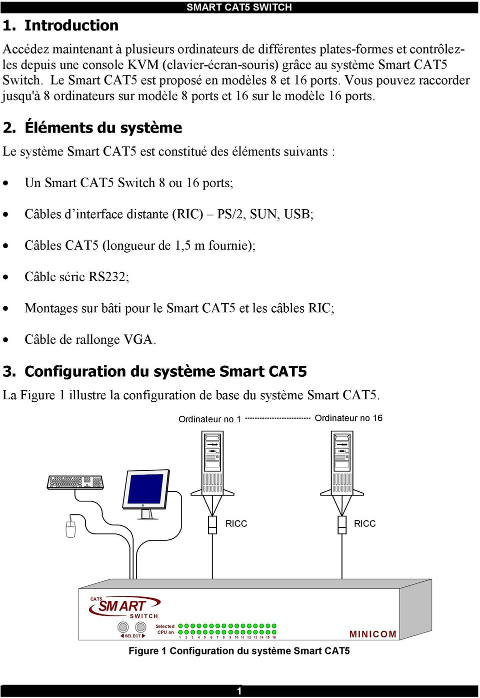 Éléments du système Le système Smart CAT5 est constitué des éléments suivants : Un Smart CAT5 Switch 8 ou 16 ports; Câbles d interface distante (RIC) PS/2, SUN, USB; Câbles CAT5 (longueur de 1,5 m