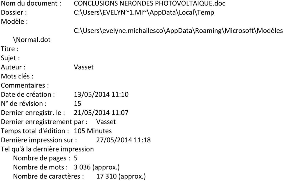 le : 21/05/2014 11:07 CONCLUSIONS NERONDES PHOTOVOLTAIQUE.doc C:\Users\EVELYN~1.MI~\AppData\Local\Temp C:\Users\evelyne.