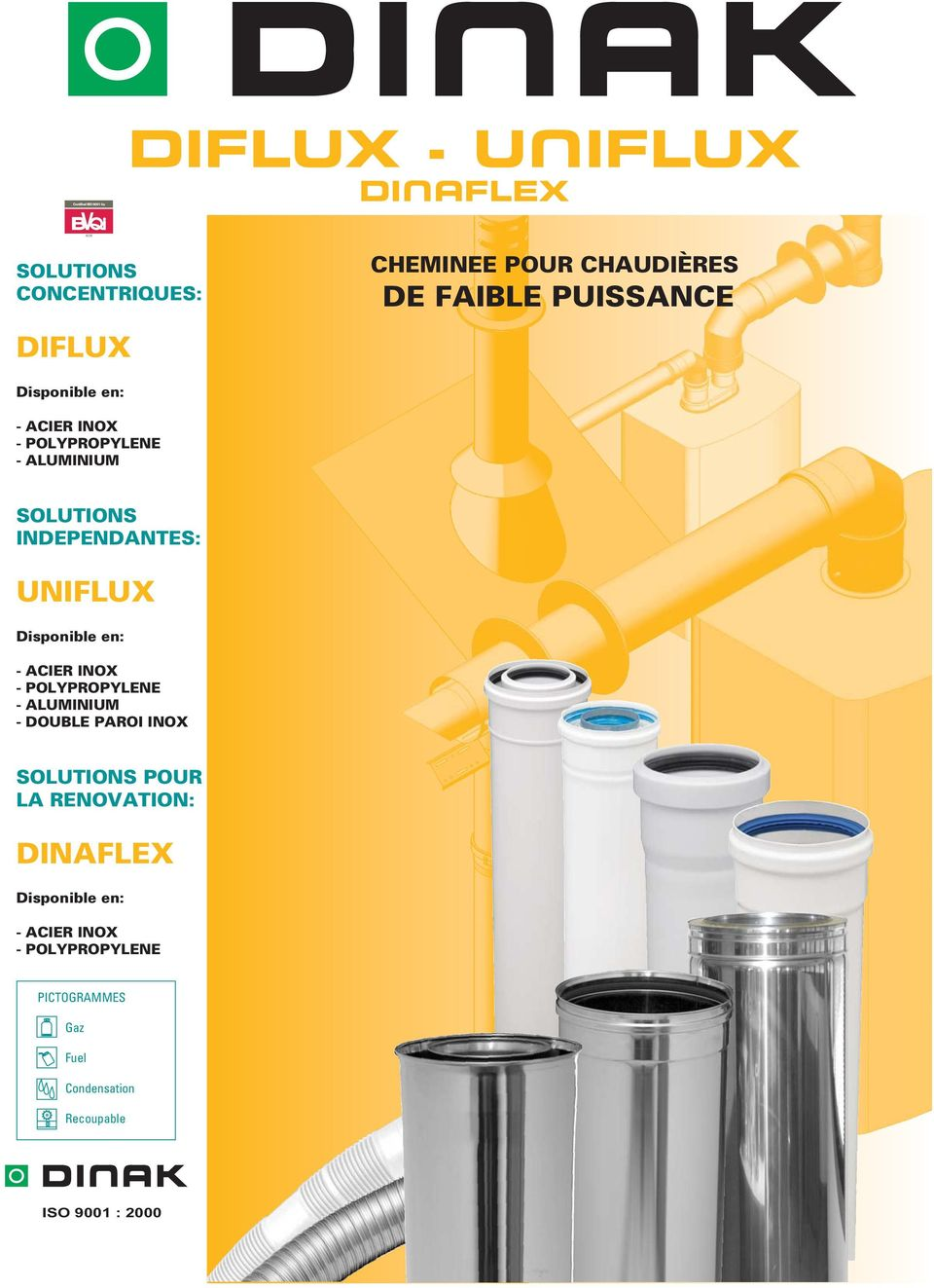 UNIFLUX Disponible en: - CIER INOX - POLYPROPYLENE - LUMINIUM - DOUBLE PROI INOX SOLUTIONS POUR L