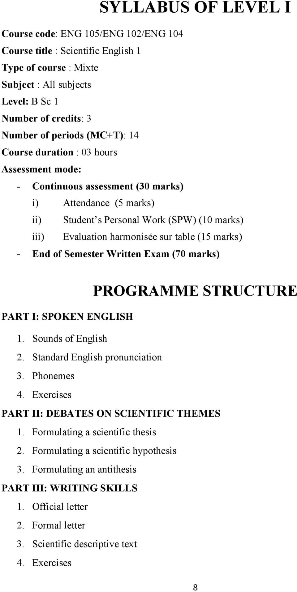 - End of Semester Written Exam (70 marks) PROGRAMME STRUCTURE PART I: SPOKEN ENGLISH 1. Sounds of English 2. Standard English pronunciation 3. Phonemes 4.