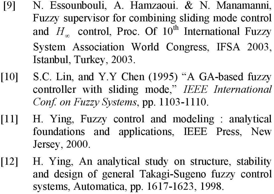 Y Chen (995 A GA-based fuzzy controller wth sldng mode, EEE nternatonal Conf. on Fuzzy ystems, pp. 3-. [] H.