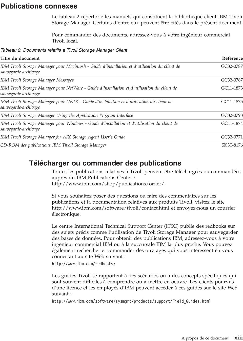 Documents relatifs à Tioli Storage Manager Client Titre du document IBM Tioli Storage Manager pour Macintosh - Guide d installation et d utilisation du client de sauegarde-archiage IBM Tioli Storage