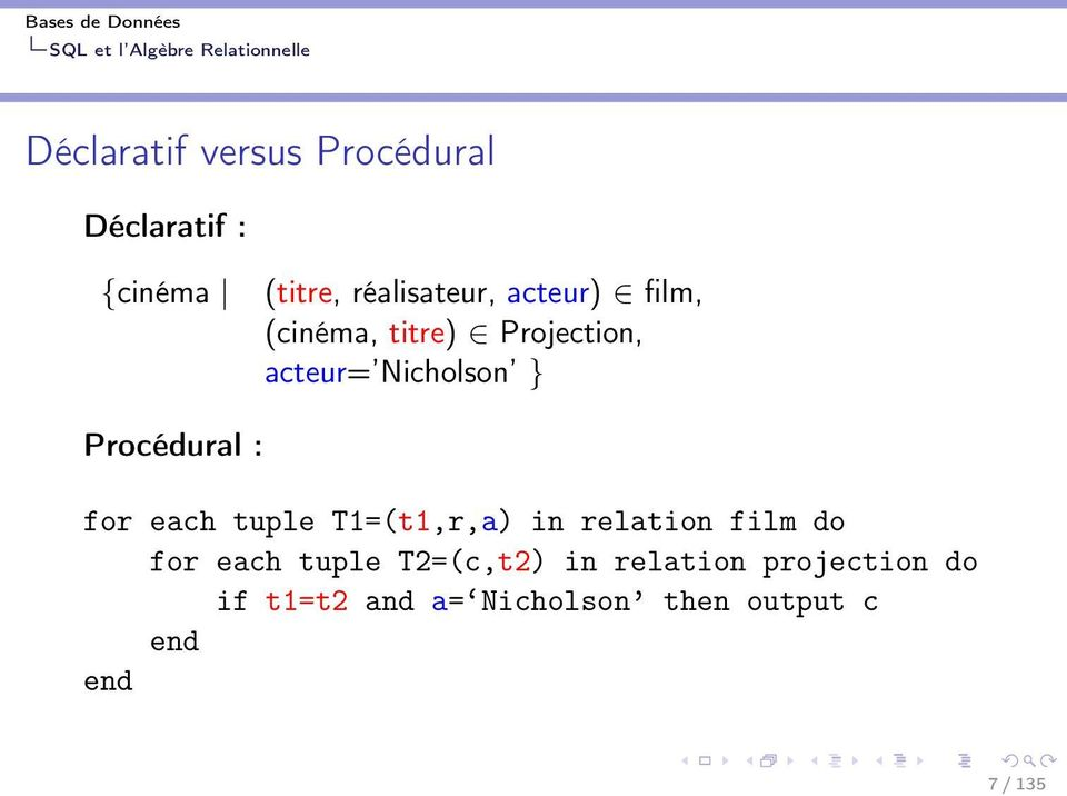 for each tuple T1=(t1,r,a) in relation film do for each tuple T2=(c,t2) in