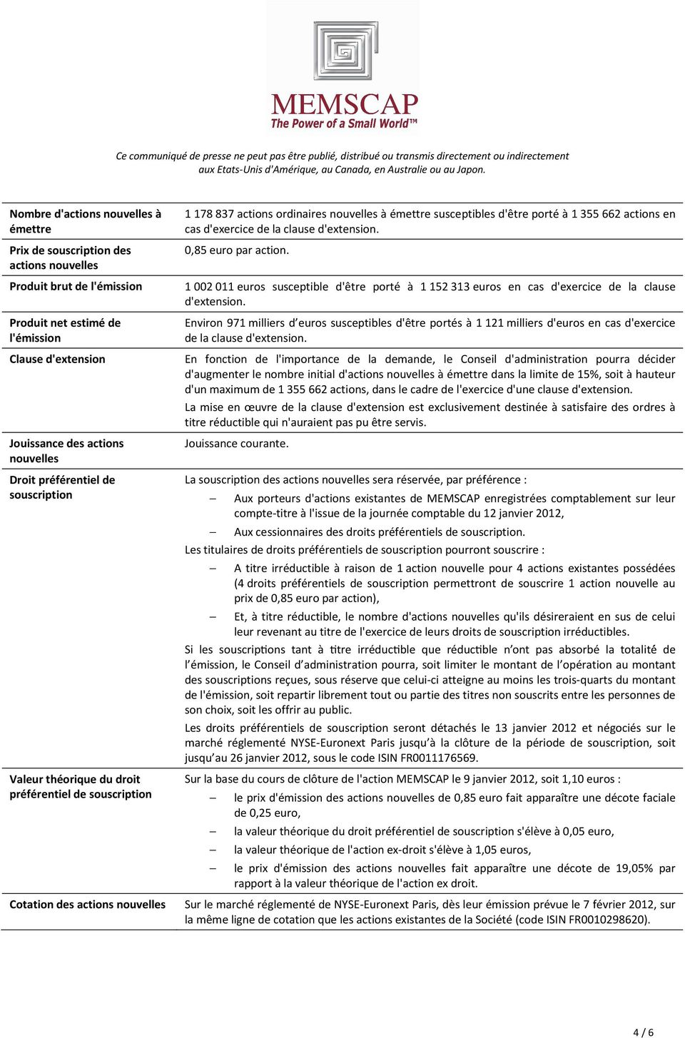 la clause d'extension. 0,85 euro par action. 1 002 011 euros susceptible d'être porté à 1 152 313 euros en cas d'exercice de la clause d'extension.