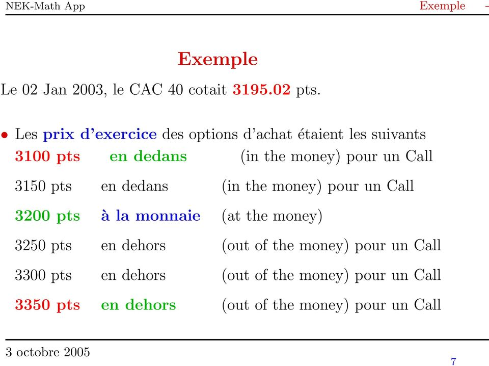 Call 3150 pts en dedans (in the money) pour un Call 3200 pts à la monnaie (at the money) 3250 pts en