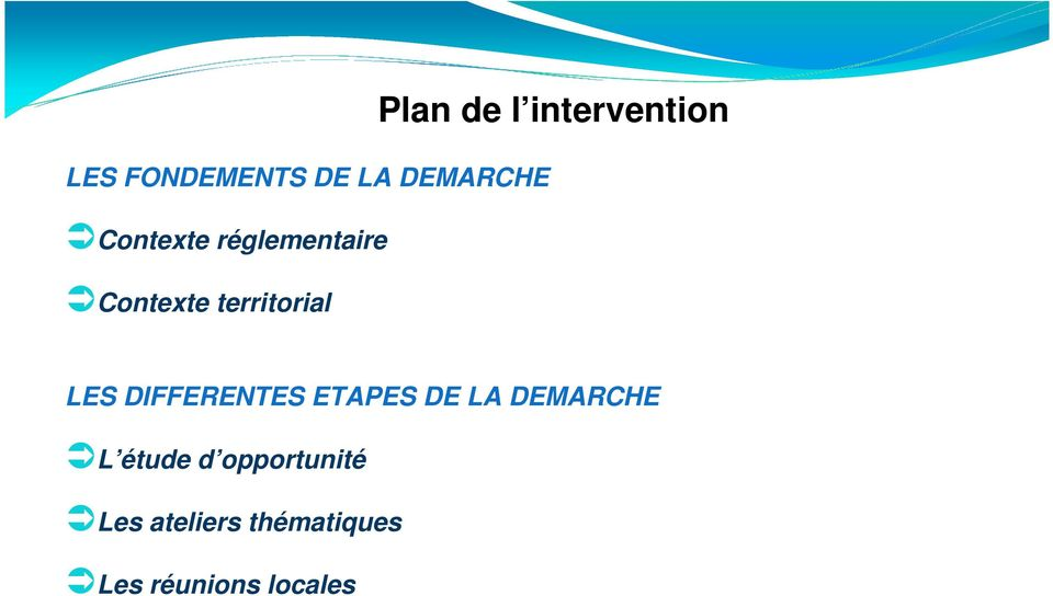 intervention LES DIFFERENTES ETAPES DE LA DEMARCHE