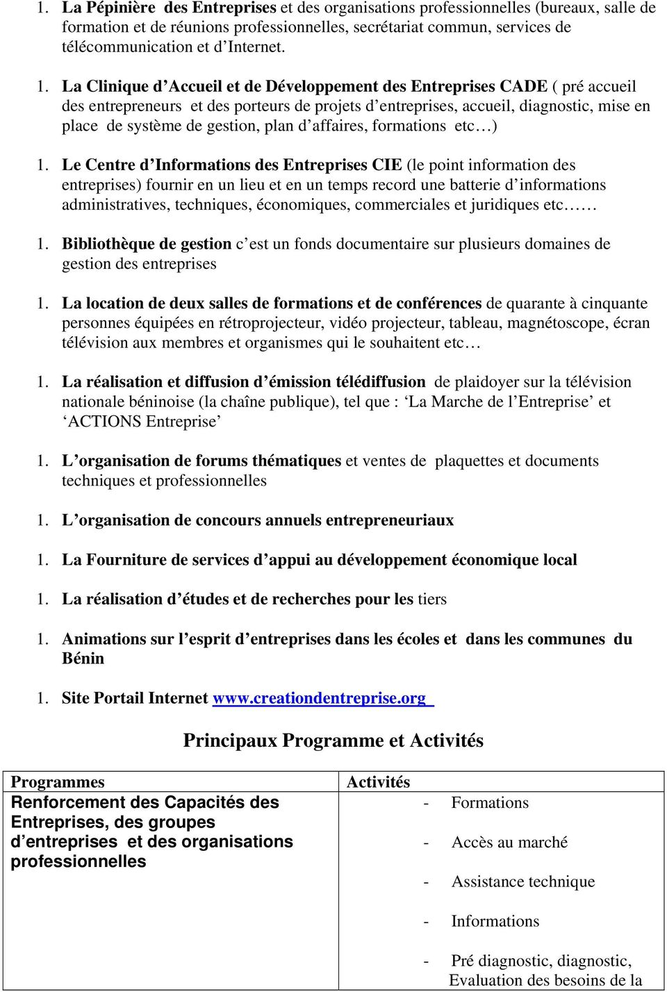 d affaires, formations etc ) 1.