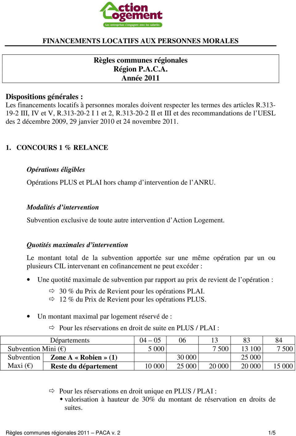 Modalités d intervention Subvention exclusive de toute autre intervention d Action Logement.