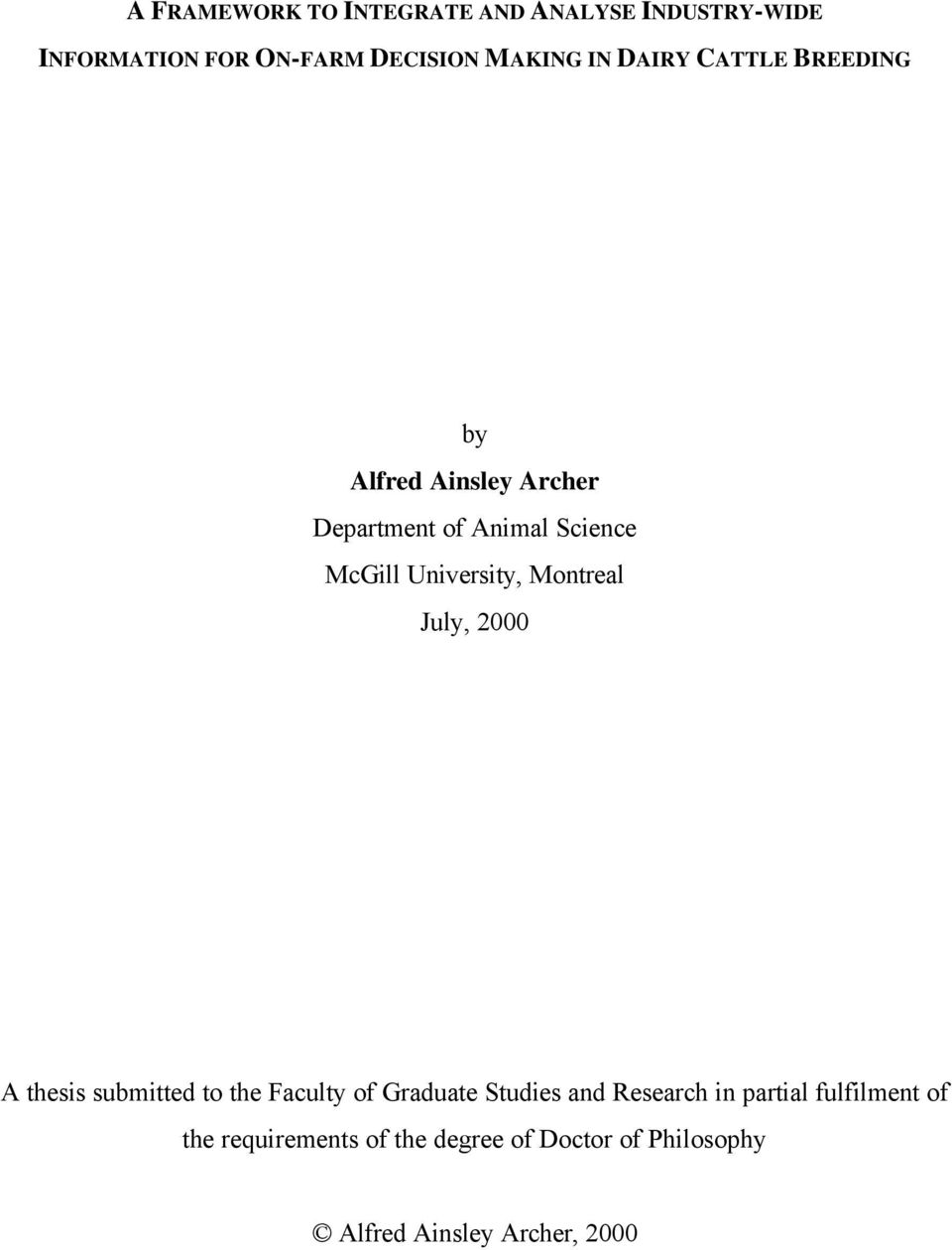Montreal July, 2000 A thesis submitted to the Faculty of Graduate Studies and Research in