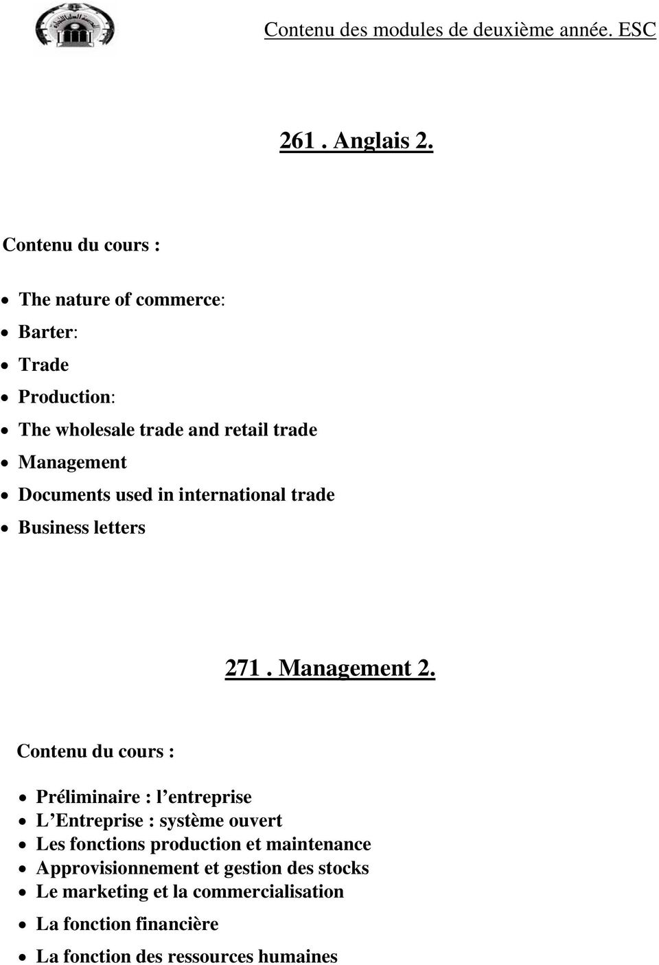 international trade Business letters 271. Management 2.