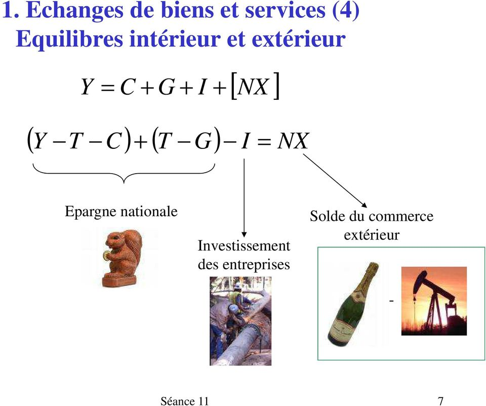 C) + ( T G) I = NX Epargne nationale Investissement