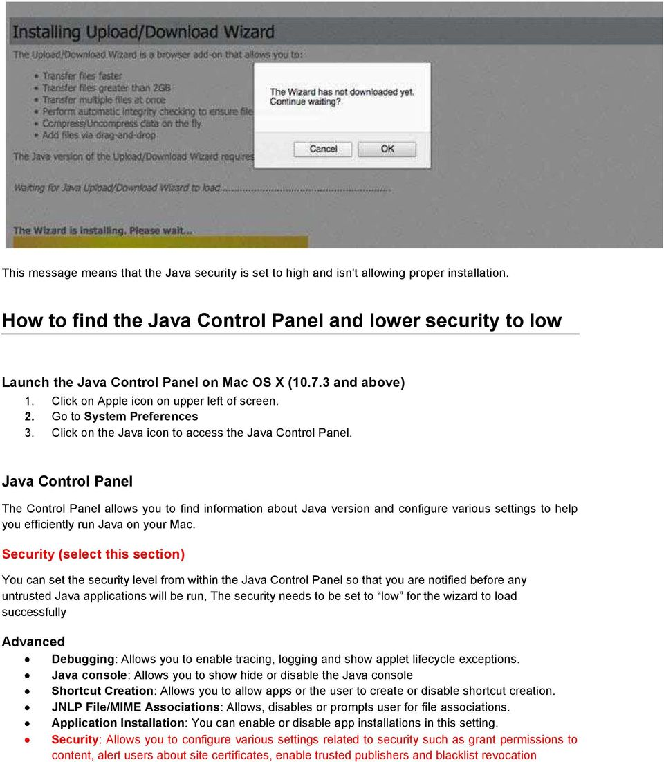 Click on the Java icon to access the Java Control Panel.