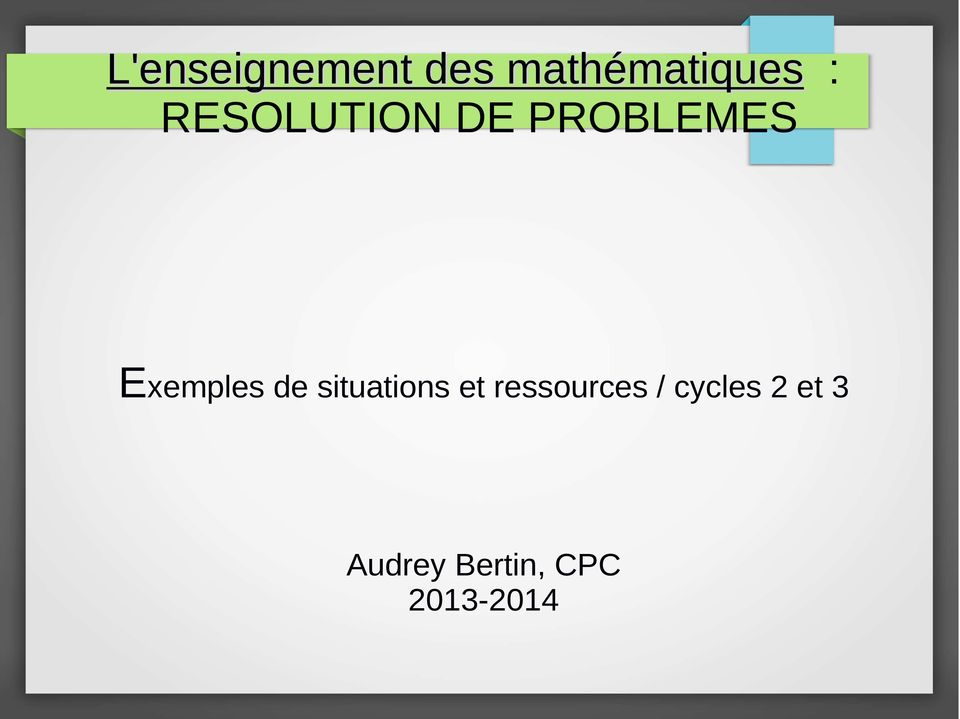 de situations et ressources /