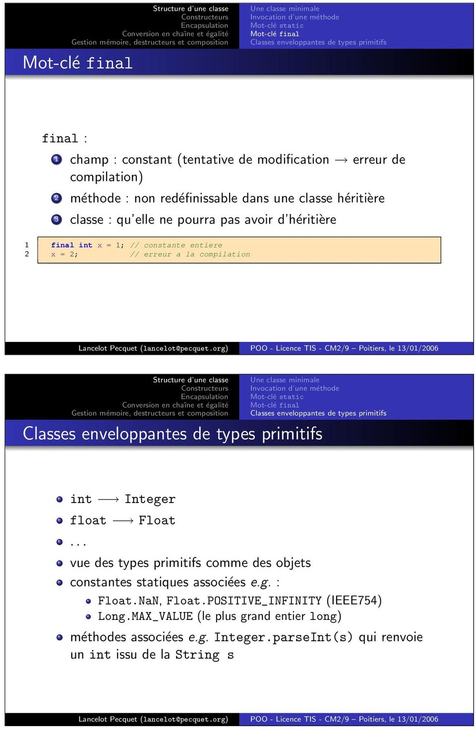 Une classe minimale Invocation d une méthode Mot-clé static Mot-clé final Classes enveloppantes de types primitifs Classes enveloppantes de types primitifs int Integer float Float.