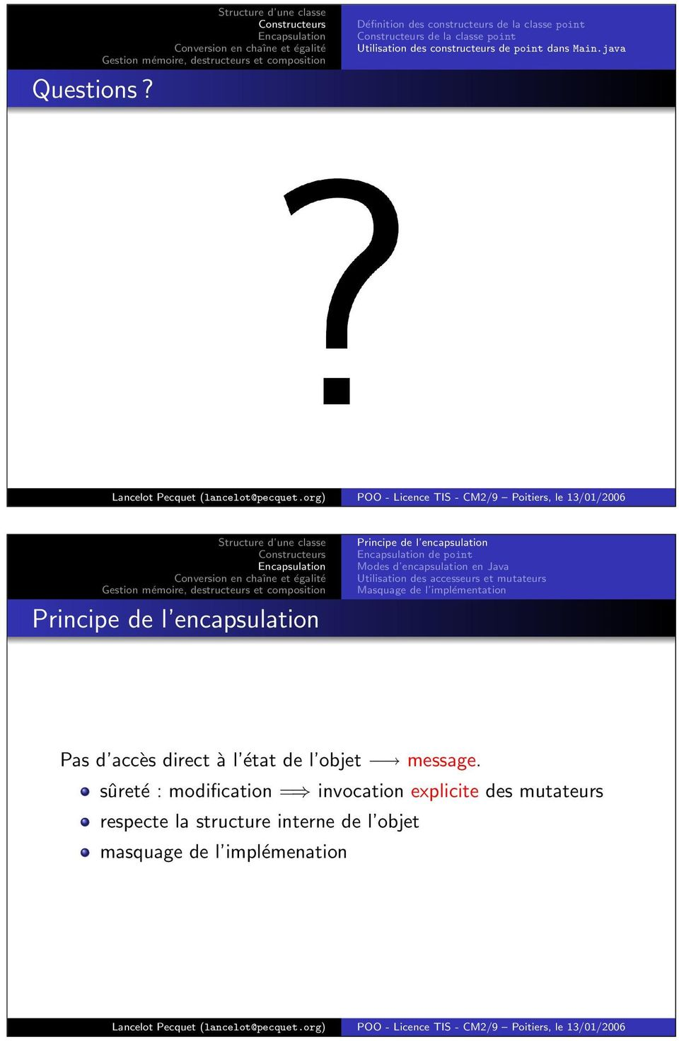 Main.java Principe de l encapsulation Principe de l encapsulation de point Modes d encapsulation en Java