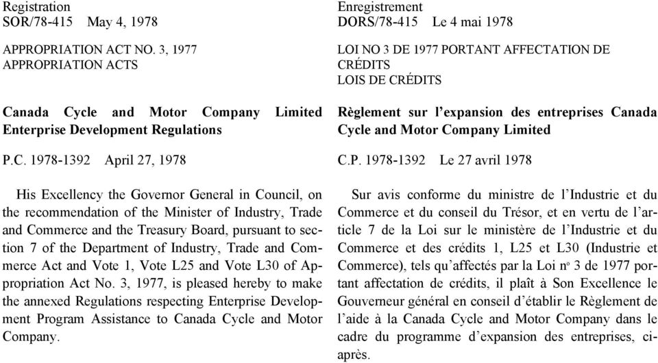 entreprises Canada Cycle and Motor Company Limited P.
