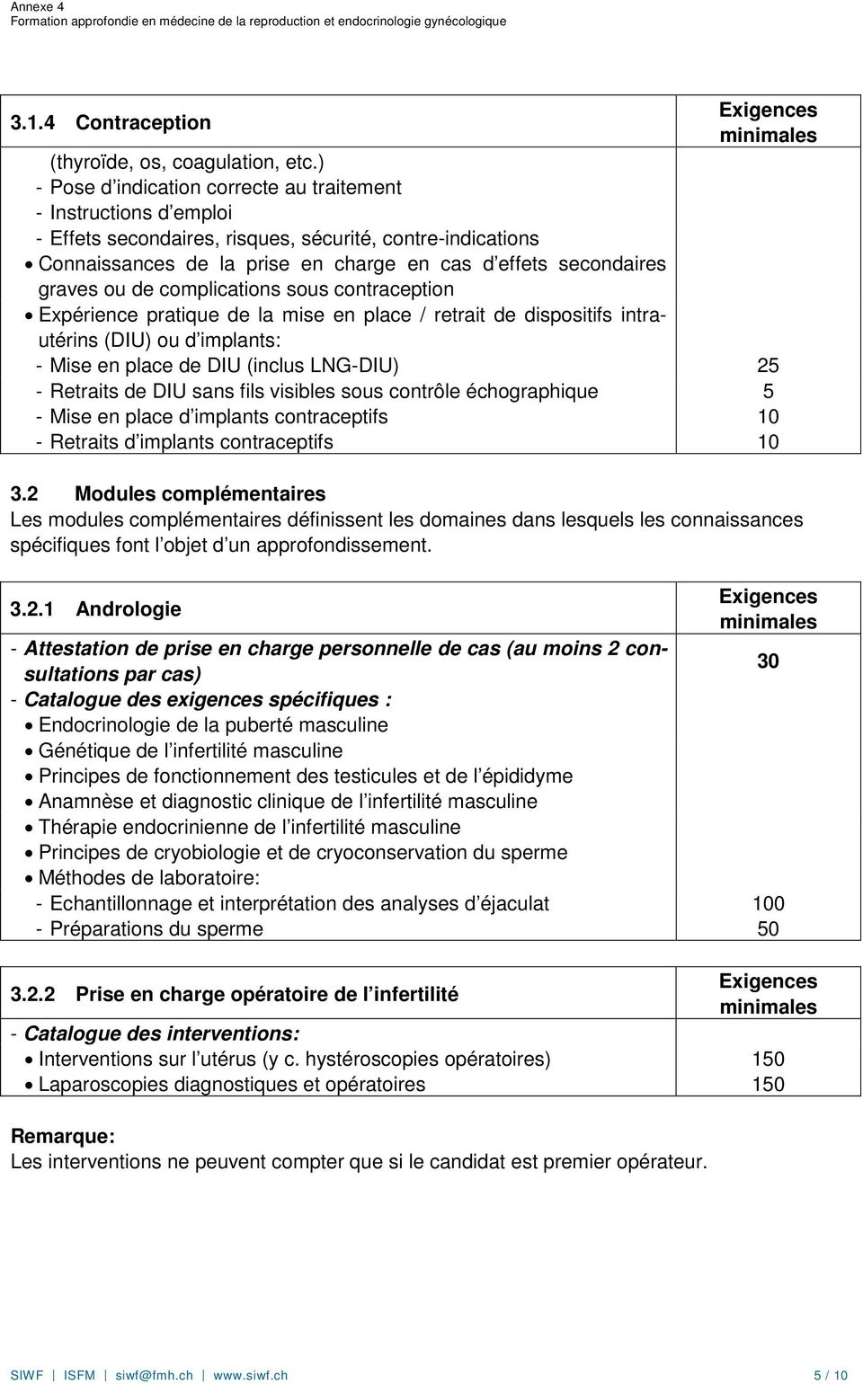 ou de complications sous contraception Expérience pratique de la mise en place / retrait de dispositifs intrautérins (DIU) ou d implants: - Mise en place de DIU (inclus LNG-DIU) 25 - Retraits de DIU