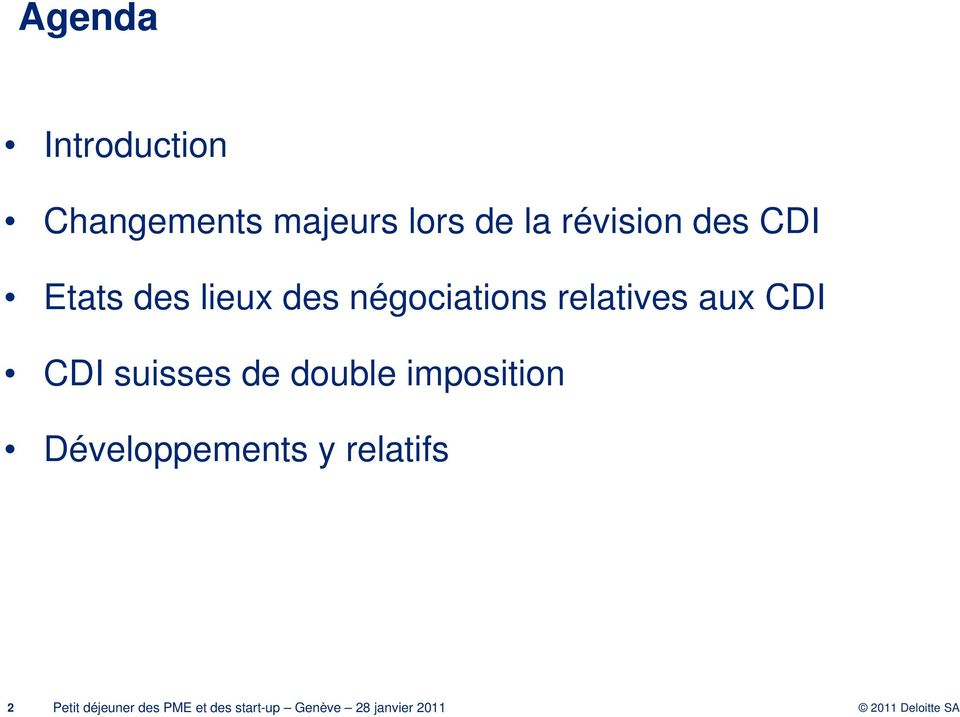 négociations relatives aux CDI CDI suisses