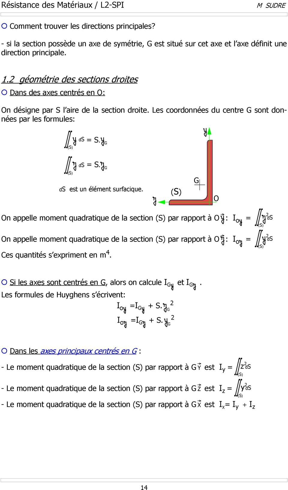n appelle moment quadratique de la section par rapport à : I o = n appelle moment quadratique de la section par rapport à : I o = es quantités s epriment en m 4.