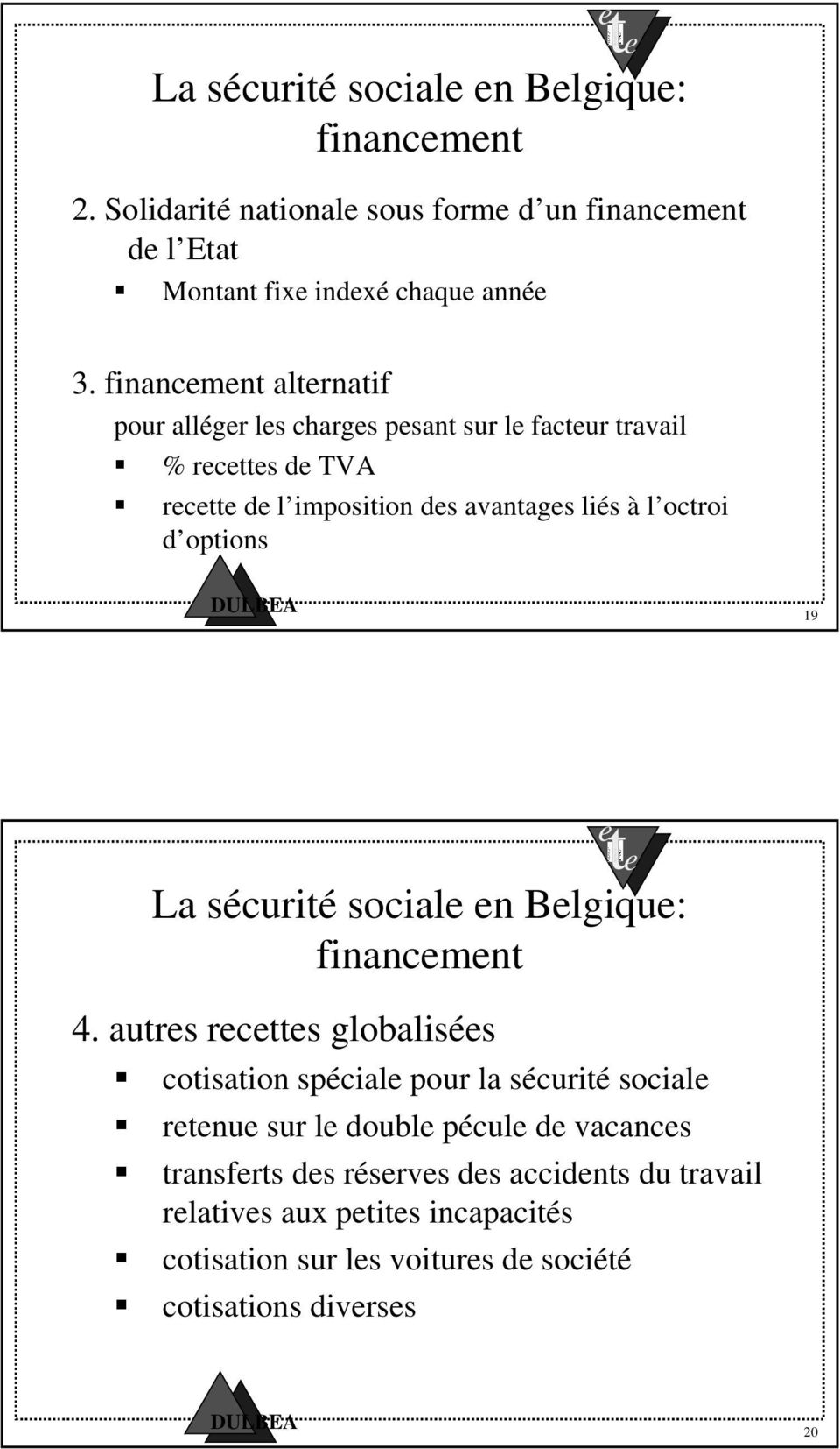 options 19 La sécurité social n Blgiqu: financmnt 4.