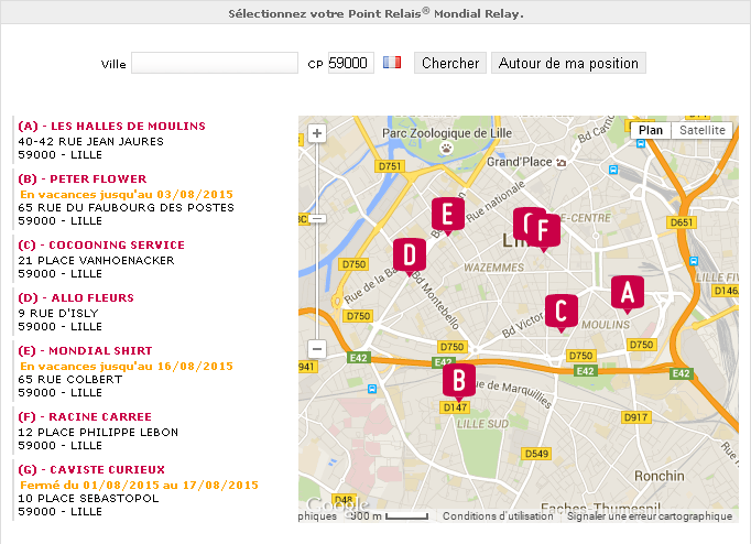 Introduction Le widget est un outil javascript permettant l affichage d une carte de Point Relais sur un site Web sans