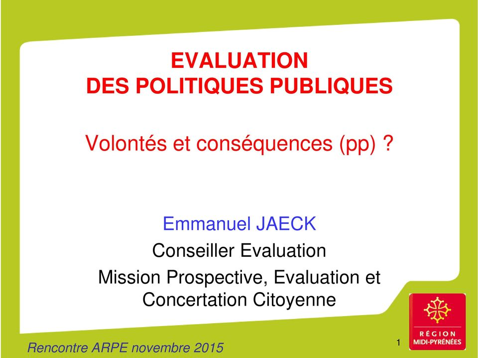 Emmanuel JAECK Conseiller Evaluation Mission
