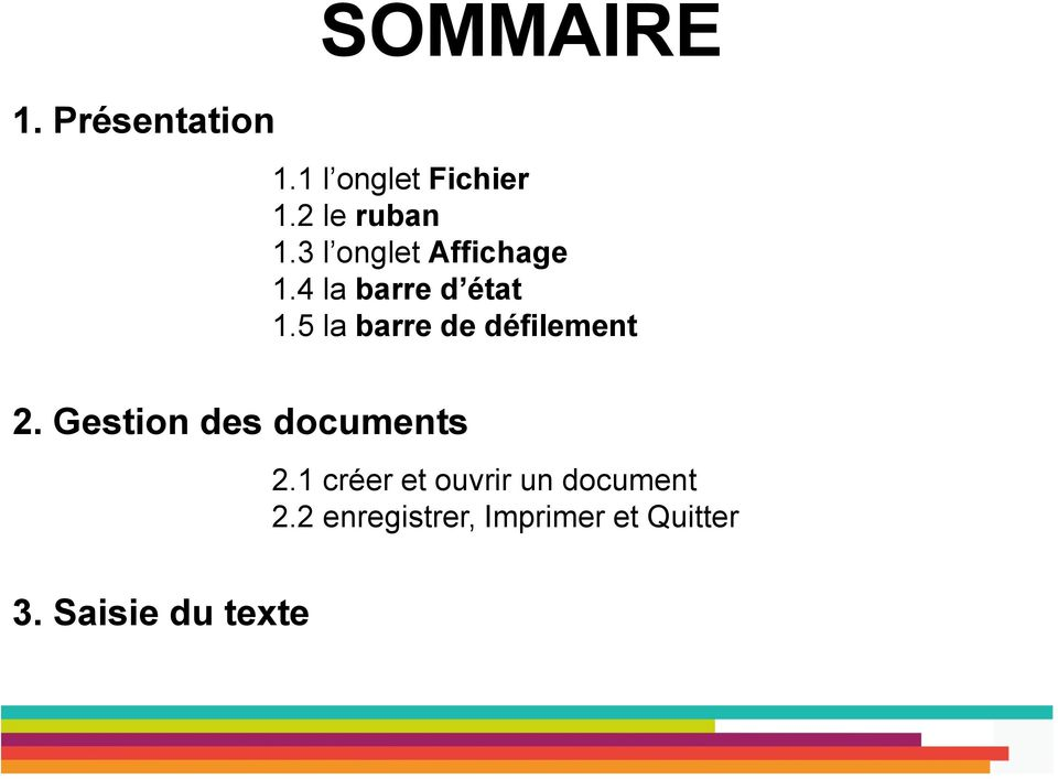 5 la barre de défilement 2. Gestion des documents 3.