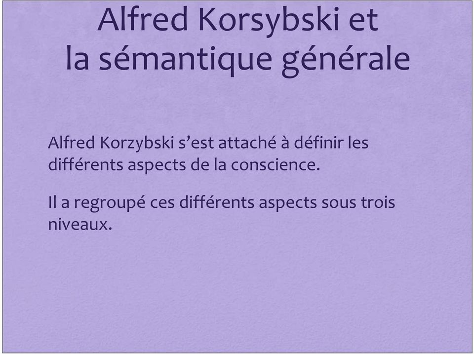 différents aspects de la conscience.
