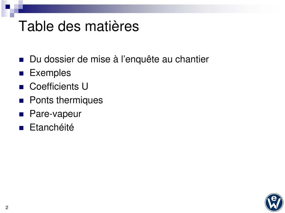 Exemples Coefficients U Ponts