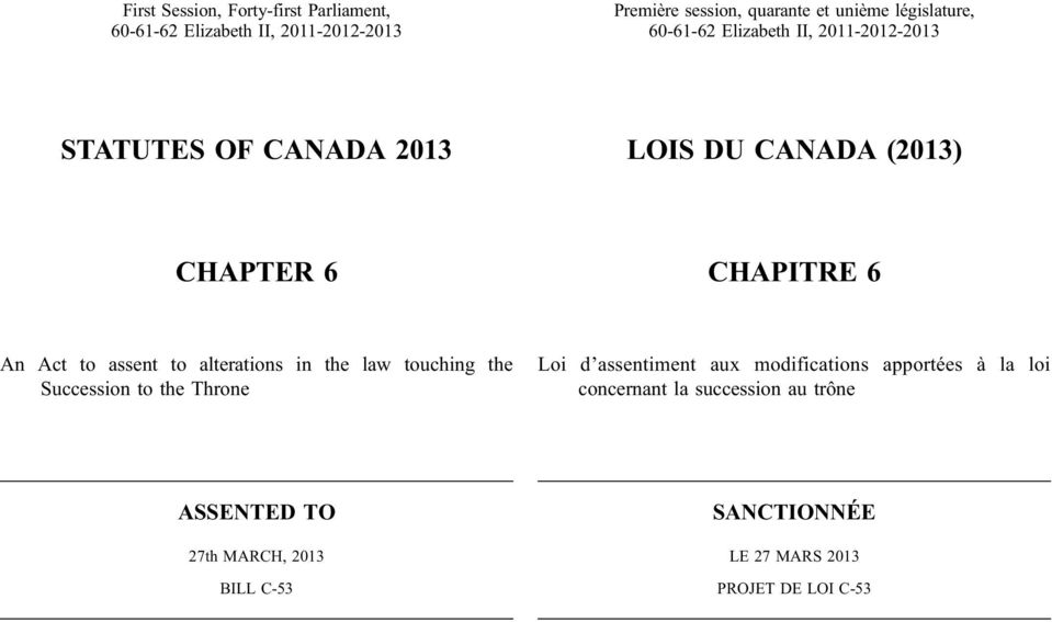 Act to assent to alterations in the law touching the Succession to the Throne Loi d assentiment aux modifications