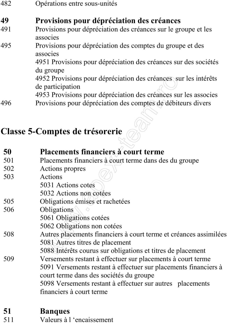 pour dépréciation des créances sur les associes 496 Provisions pour dépréciation des comptes de débiteurs divers Classe 5-Comptes de trésorerie 50 Placements financiers à court terme 501 Placements