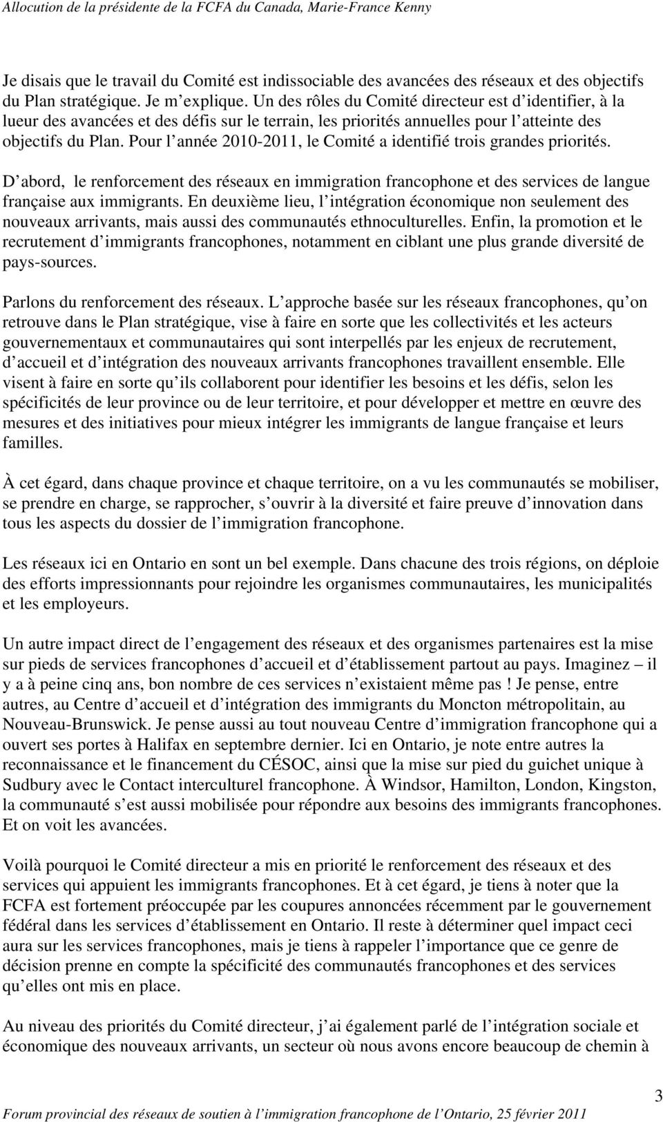 Notes pour une allocution de mme marie france kenny - Office francaise d immigration et d integration ...