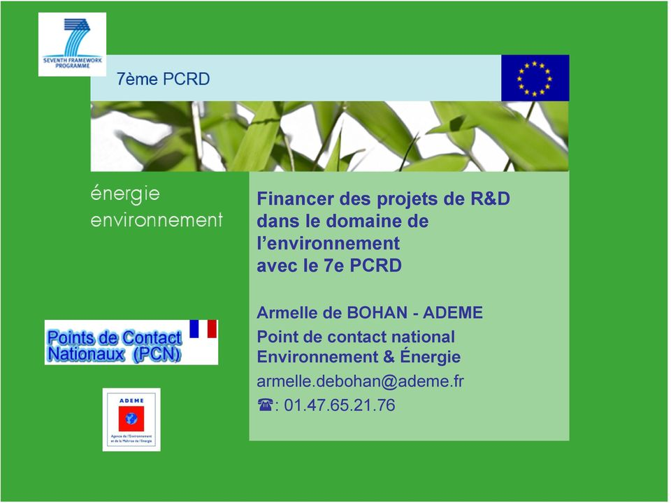 ADEME Point de contact national Environnement &