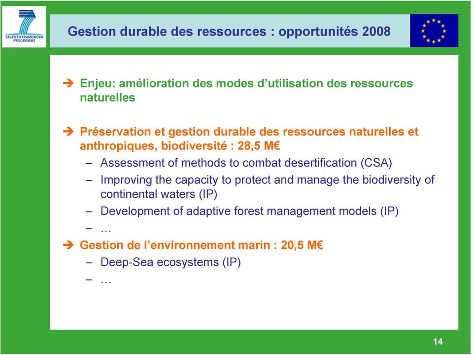 to combat desertification (CSA) Improving the capacity to protect and manage the biodiversity of continental waters (IP)
