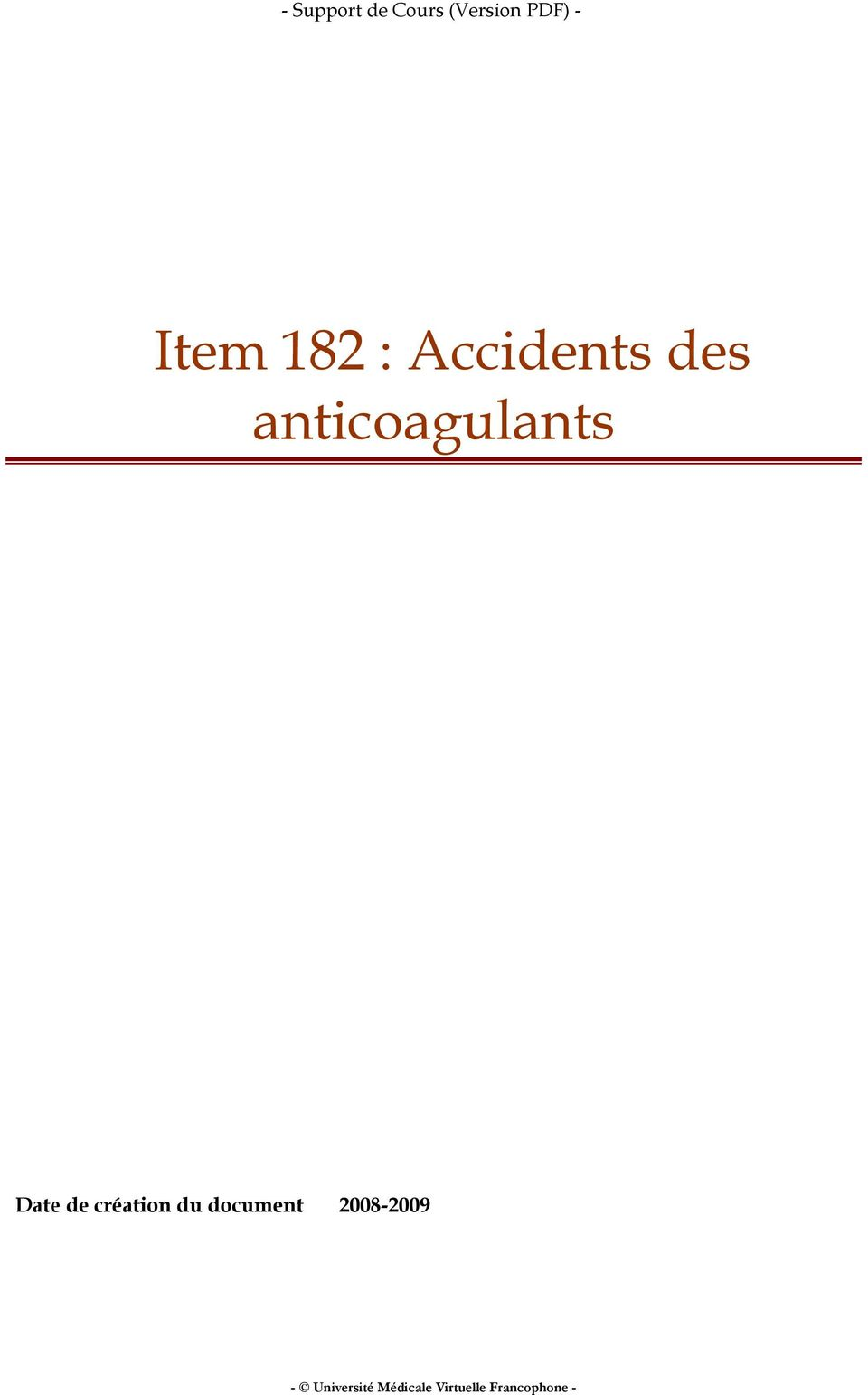 anticoagulants Date