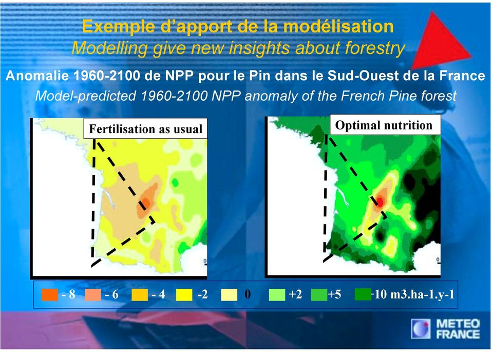 France Model-predicted 1960-2100 NPP anomaly of the French Pine forest