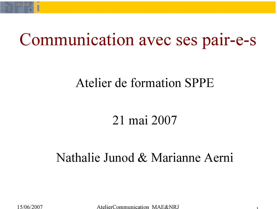 formation SPPE 21 mai