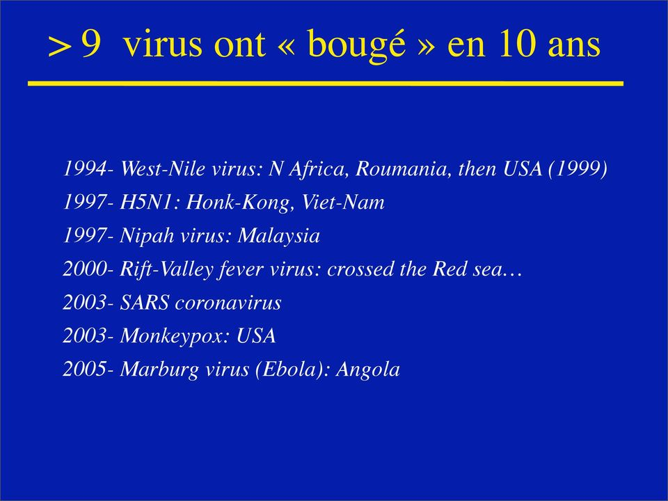 virus: Malaysia 2000- Rift-Valley fever virus: crossed the Red sea