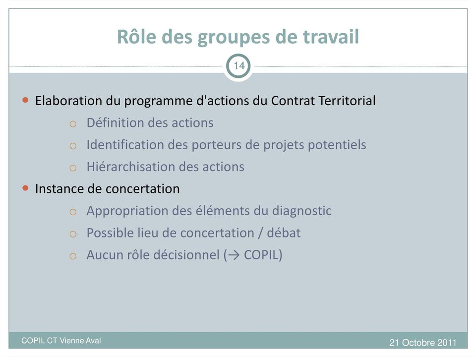 potentiels o Hiérarchisation des actions Instance de concertation o Appropriation