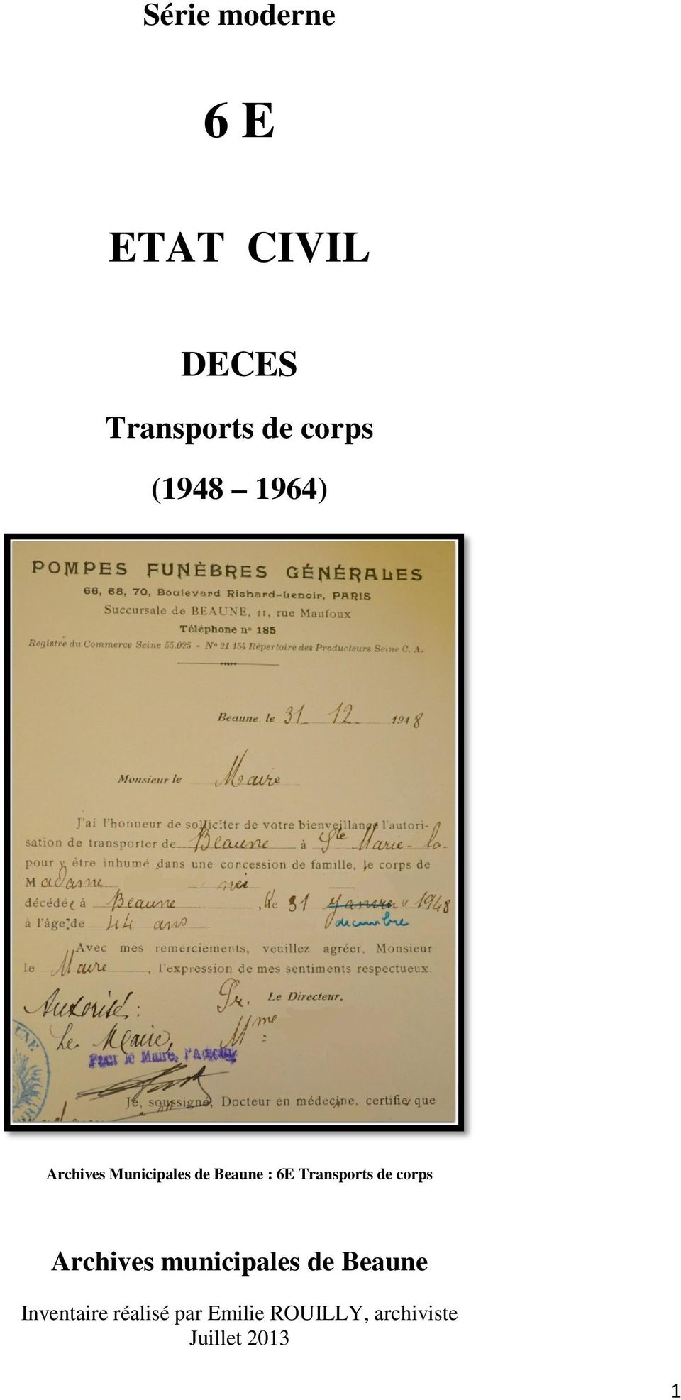 Transports de corps Archives municipales de Beaune