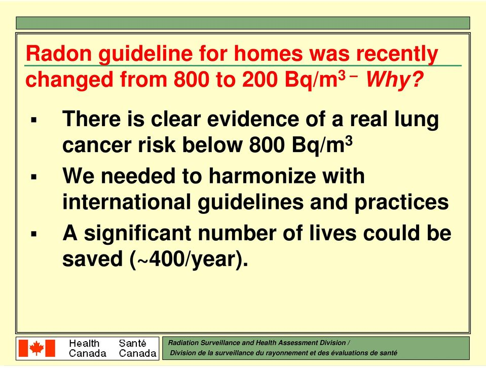 There is clear evidence of a real lung cancer risk below 800 Bq/m