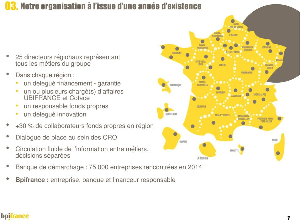 délégué innovation +30 % de collaborateurs fonds propres en région Dialogue de place au sein des CRO Circulation fluide de l information