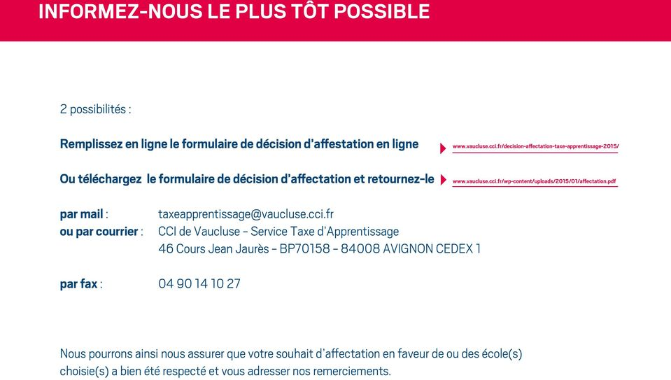 pdf par mail : ou par courrier : taxeapprentissage@vaucluse.cci.