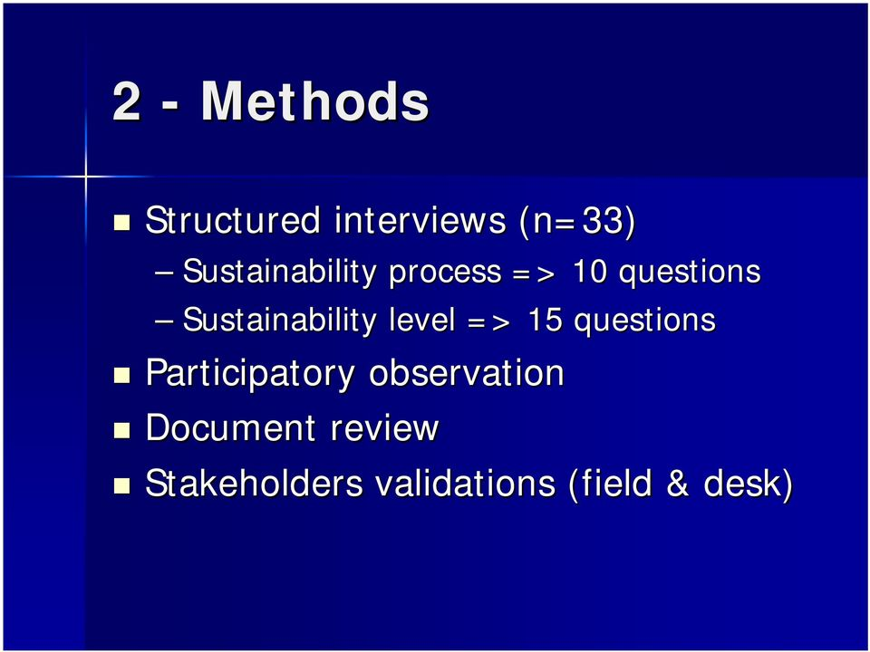 Sustainability level => 15 questions