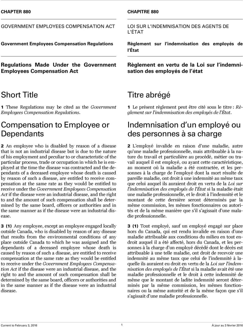 Government Employees Compensation Regulations.
