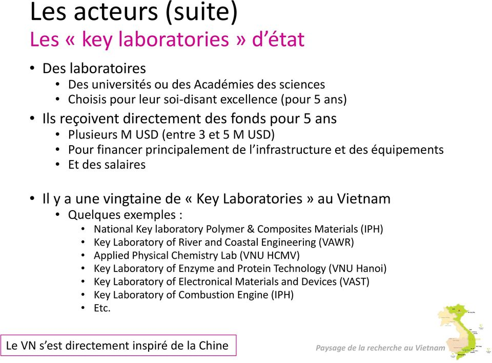 Vietnam Quelques exemples : National Key laboratory Polymer & Composites Materials (IPH) Key Laboratory of River and Coastal Engineering (VAWR) Applied Physical Chemistry Lab (VNU HCMV) Key