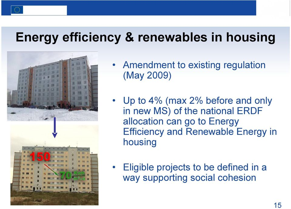national ERDF allocation can go to Energy Efficiency and Renewable